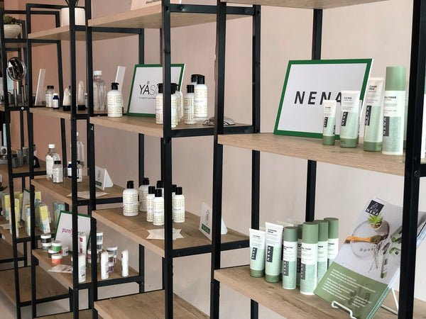 Nena Skincare products on shelf during the Environmental Working Groups' After Hours pop-up event in Portland