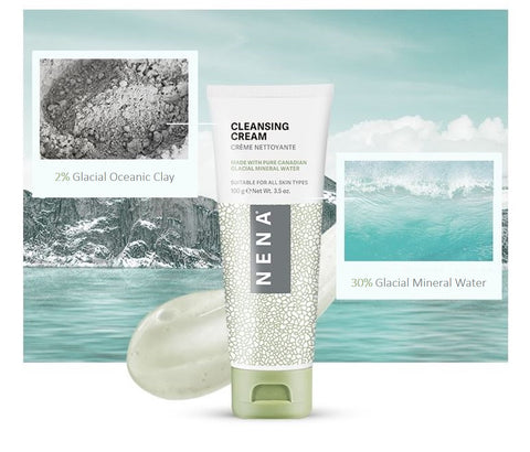 NENA Cleansing cream ingredients glacial clay and glacial mineral water