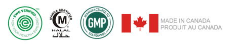 Environmental Working Group (EWG) logo, Halal logo, GMP logo, Made in Canada flag