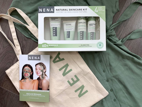 NENA Natural Skincare Kit with Nena tote bag laying on a green skirt