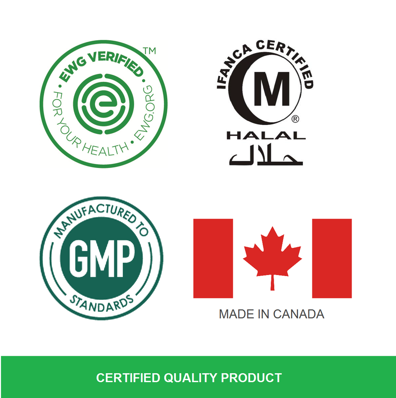 Halal certified, Environmental Working Group (EWG) Verified, Made in Canada logo