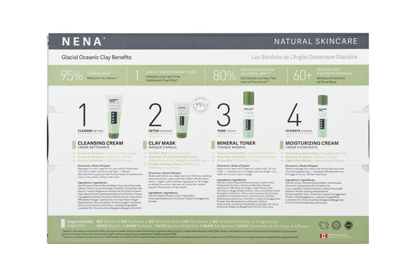 NENA Natural Skincare Kit gift box back panel