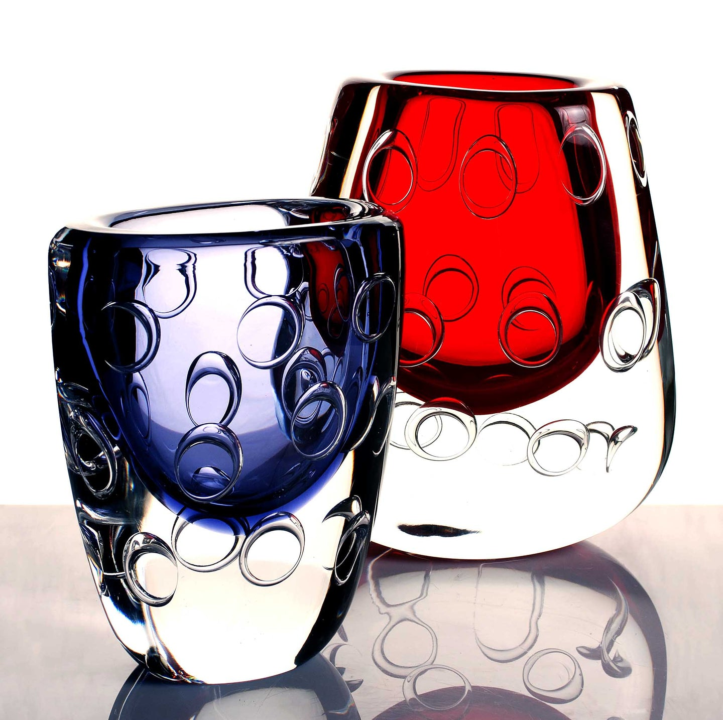 red and blue murano glass vase