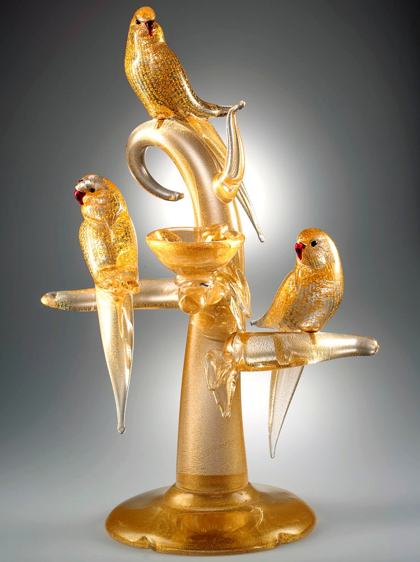 GOLD PARAKEETS Murano Glass Sculpture