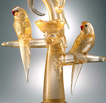 Load image into Gallery viewer, GOLD PARAKEETS Murano Glass Sculpture