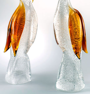 PAIR OF HERONS Murano Glass Sculpture