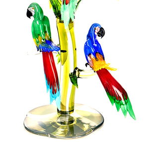 TROPICAL BIRD TREE Murano Glass Sculpture