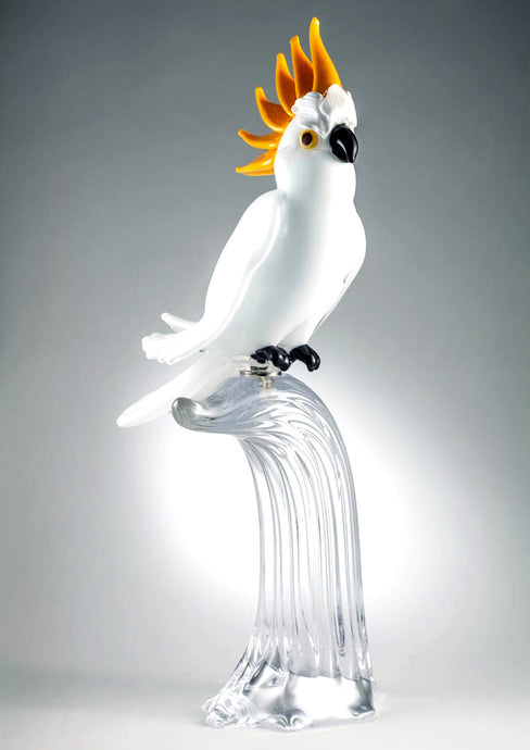 WHITE COCKATOO Murano Glass Sculpture