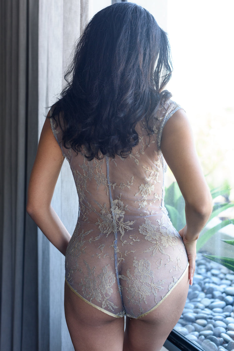 Allegra Sheer Gold Bodysuit - Anya Lust