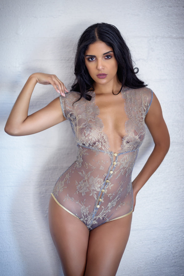 Allegra Sheer Gold Bodysuit