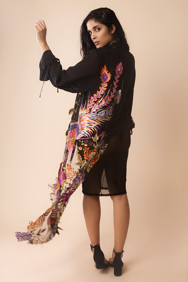 Asymmetric Bird Embroidery Kimono | Yes Master | Anya Lust Lingerie