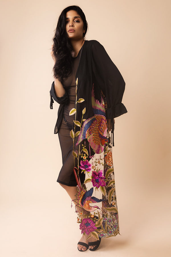 Asymmetric Bird Embroidery Kimono | Yes Master | Anya Lust
