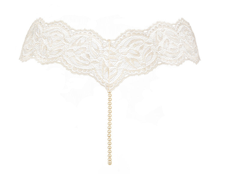 Ivory Night Lace Pearl Thong - Anya Lust