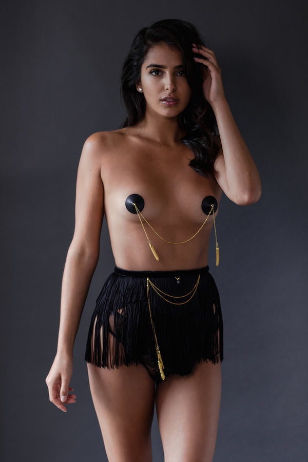 Fringe Maid Skirt & Caviar Double Pasties - Fraulein Kink - Anya Lust Luxury Lingerie