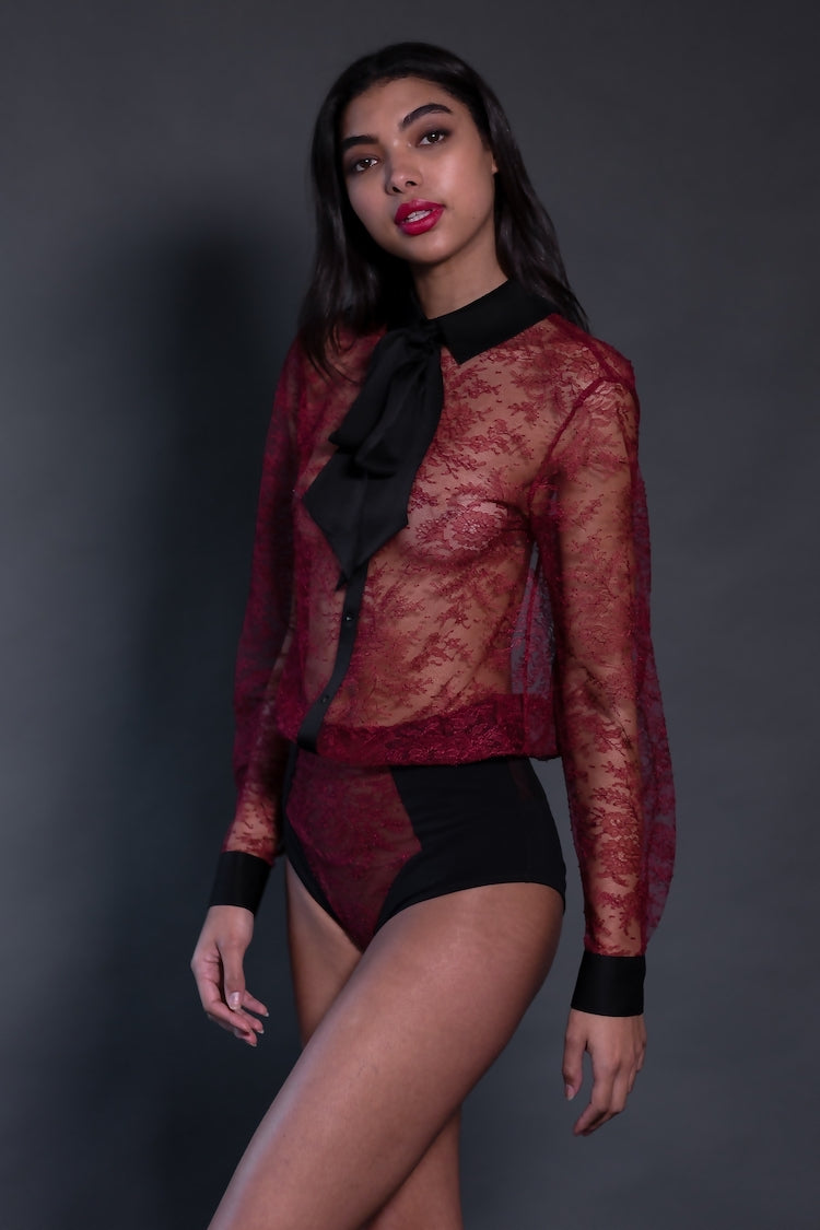 Céline Red Lace Bodysuit | Long Sleeve Bodysuit | Sheer Lingerie | Anya Lust