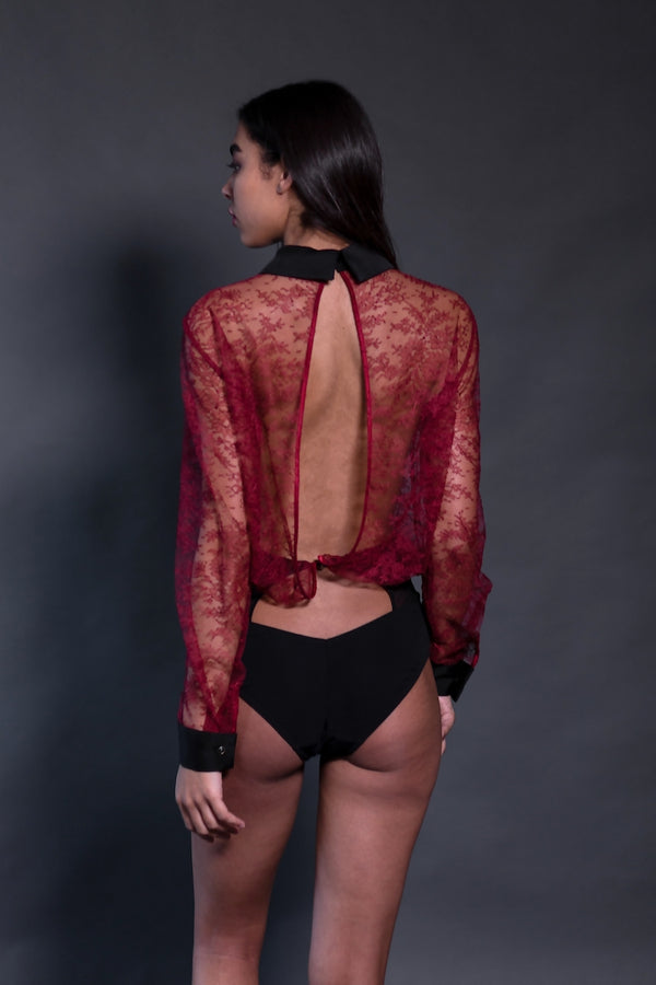 Céline Red Lace Bodysuit | Long Sleeve Bodysuit | Sheer | Anya Lust