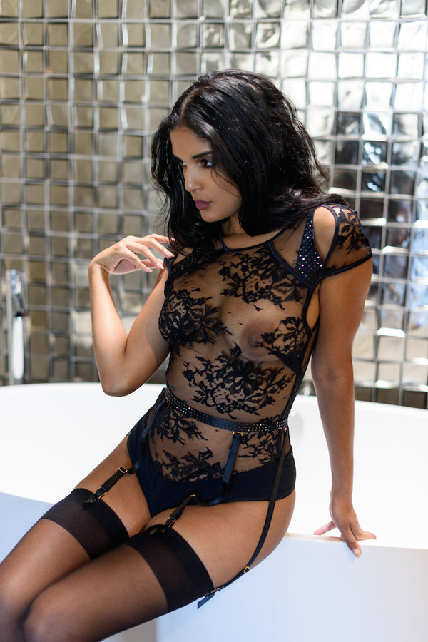 Claire Sheer Black Bodysuit - Anya Lust Luxury Lingerie Boutique