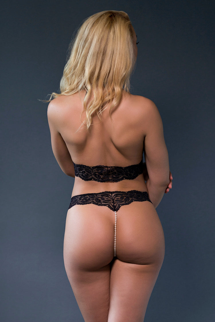 Classic Lace Pearl Thong