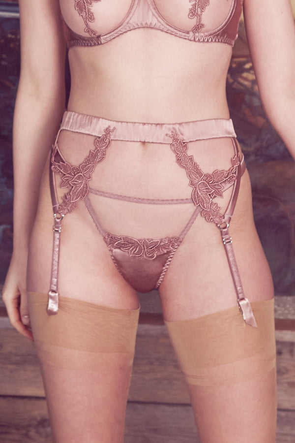 Desert Rose Embroidered Garter Belt | Fleur of England | Anya Lust
