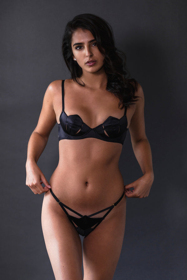 Diamond Silk Bra Black - Ludique - Anya Lust Luxury Lingerie