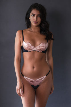 Diamond Silk Bra Pink & Diamond Silk Thong Pink - Ludique - Anya Lust Luxury Lingerie