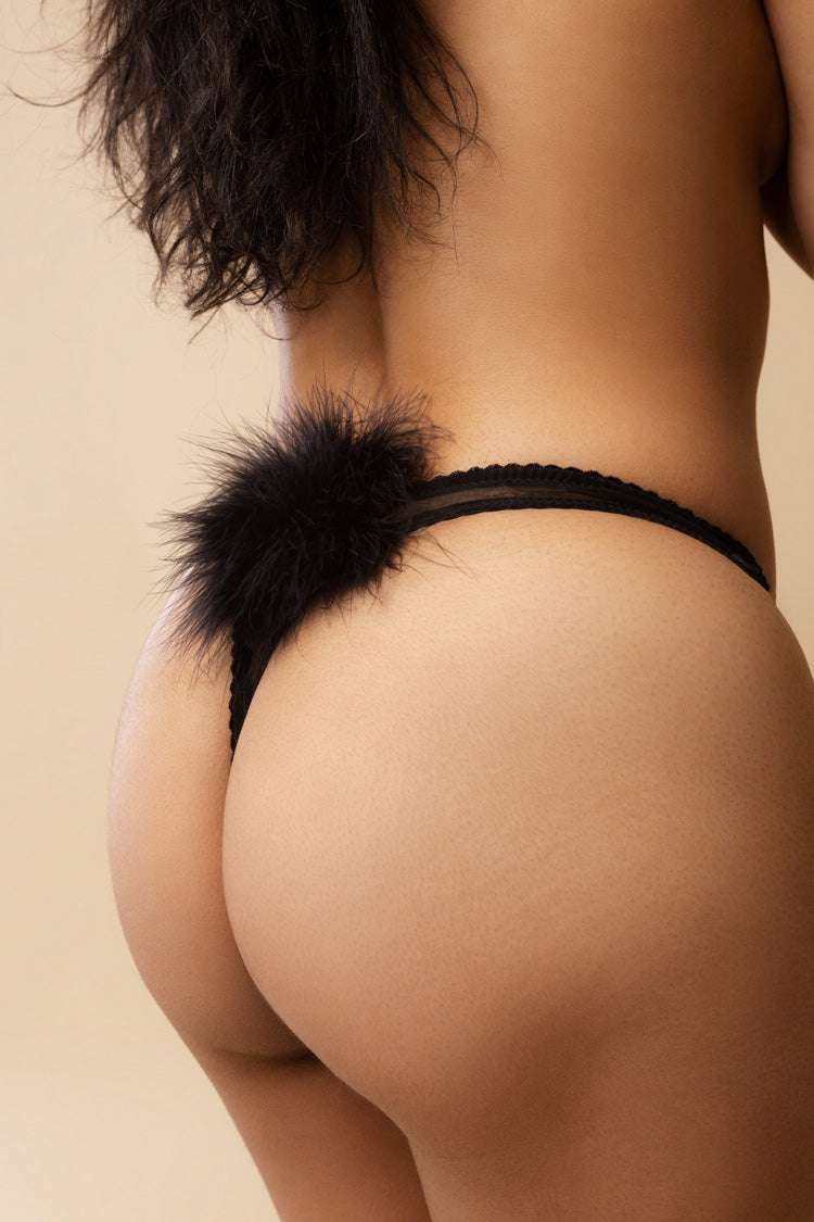 Diana Pom Pom Thong Black | Gilda & Pearl London | Anya Lust