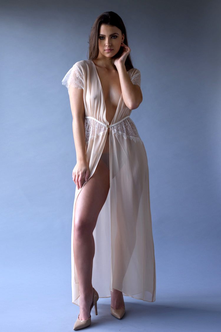Eleanor Almond Georgette and Lace Robe - Shop Anya Lust