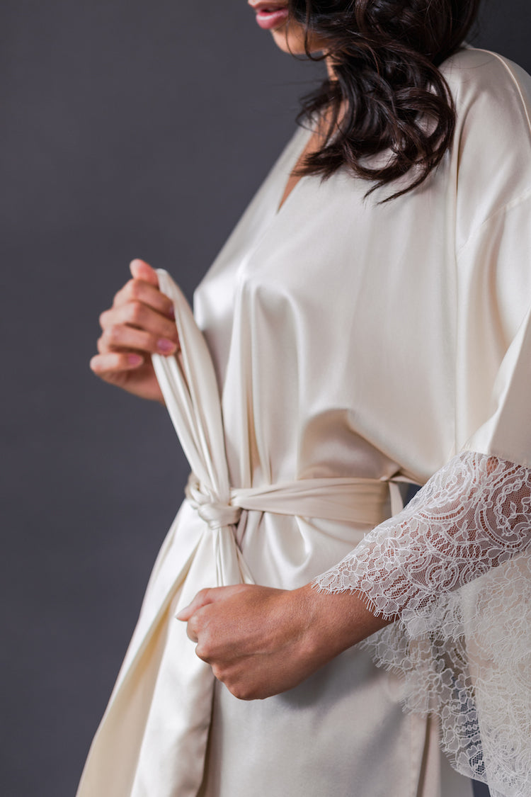 Eleanor Almond Silk Kimono - Harlow & Fox - Anya Lust Bridal Lingerie