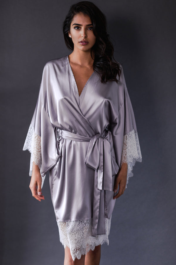 Eleanor Lilac Silk Kimono - Harlow & Fox - Anya Lust Luxury Lingerie