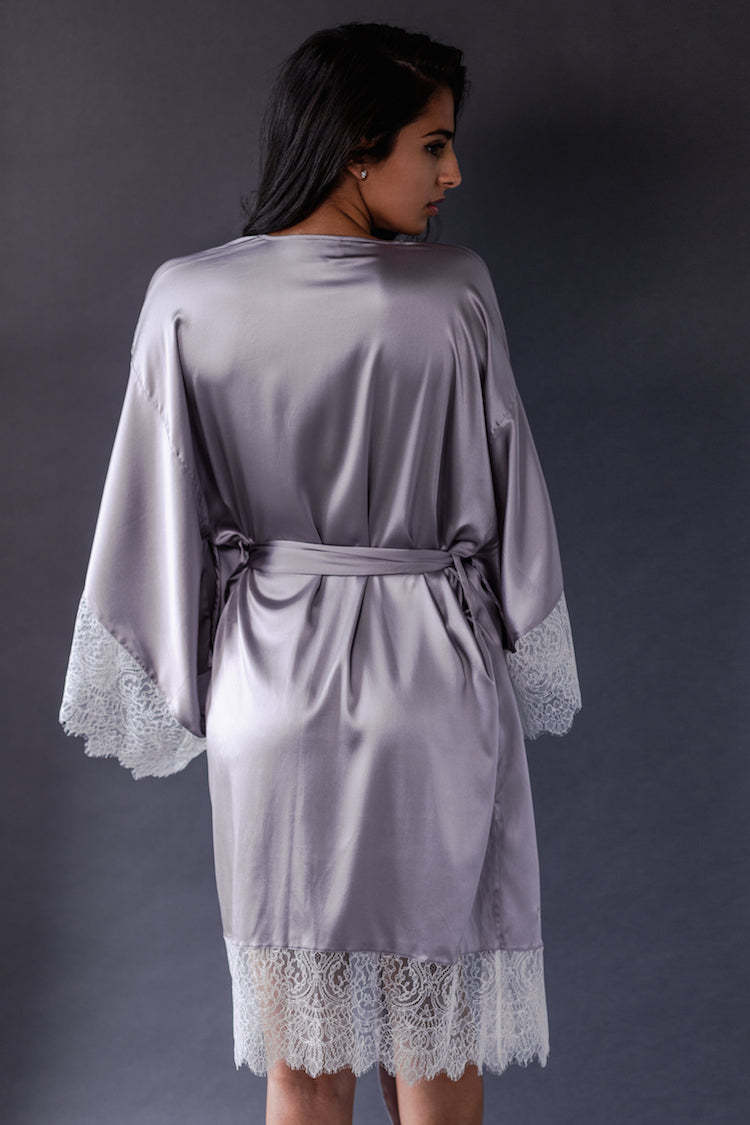 Eleanor Lilac Silk Kimono - Harlow & Fox at Anya Lust