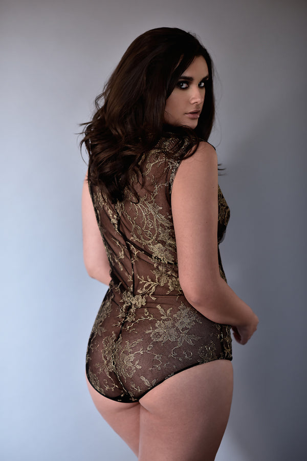 Goddess Gold Lace Bodysuit - Anya Lust Luxury Lingerie Boutique