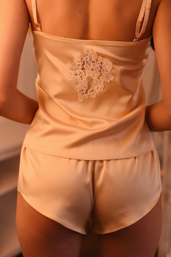 Lavlia Gold Silk Pajama Set