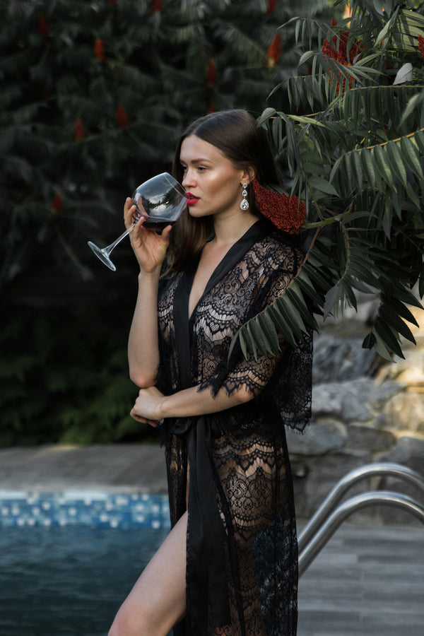 Isabella Sheer Lace Robe | See Through Robe | Anya Lust Lingerie