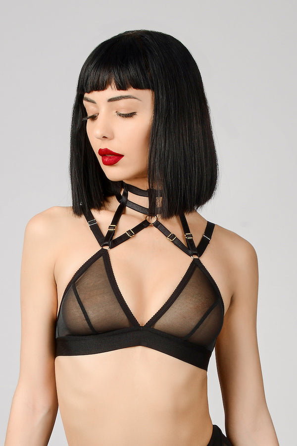 ELF ZHOU Jet Black Collared Triangle Bra