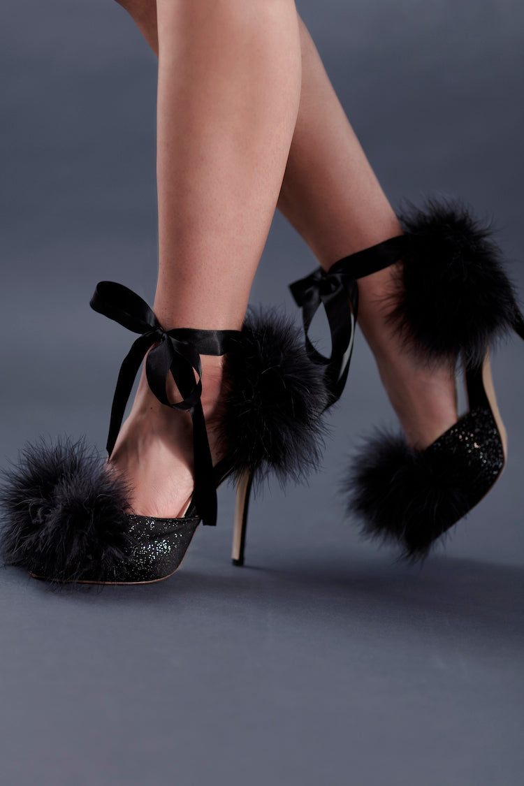 Kiki Black Slingback Heels | Women's Designer Shoes | Anya Lust