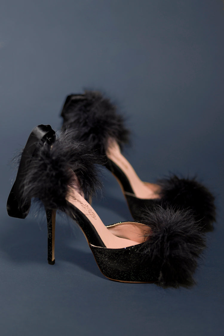 Kiki Black Slingback Heels | Women's Shoes | Anya Lust