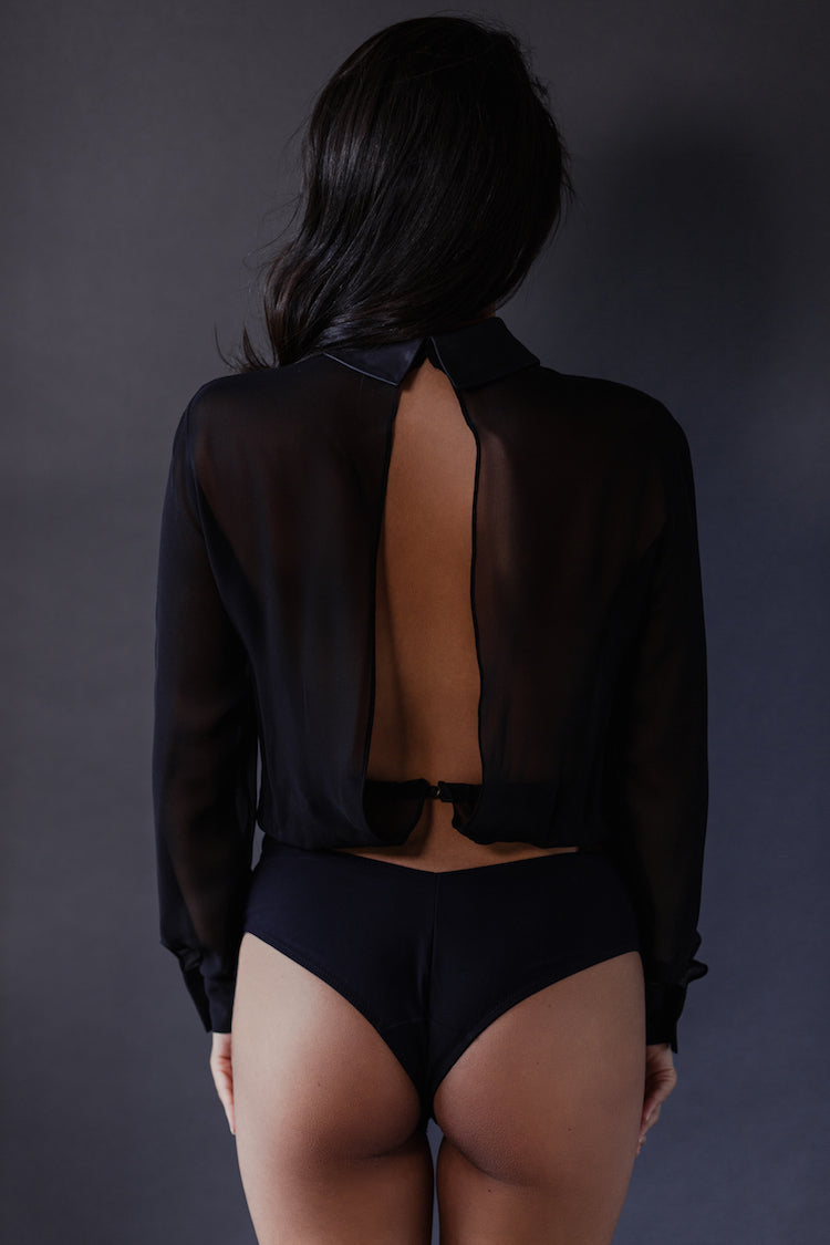 Lula Long Sleeve Bodysuit Black - Tatu Couture - Anya Lust Lingerie