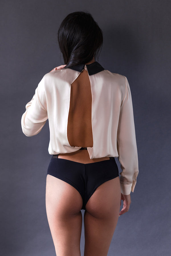 Lula Long Sleeve Bodysuit Blush - Anya Lust Luxury Lingerie