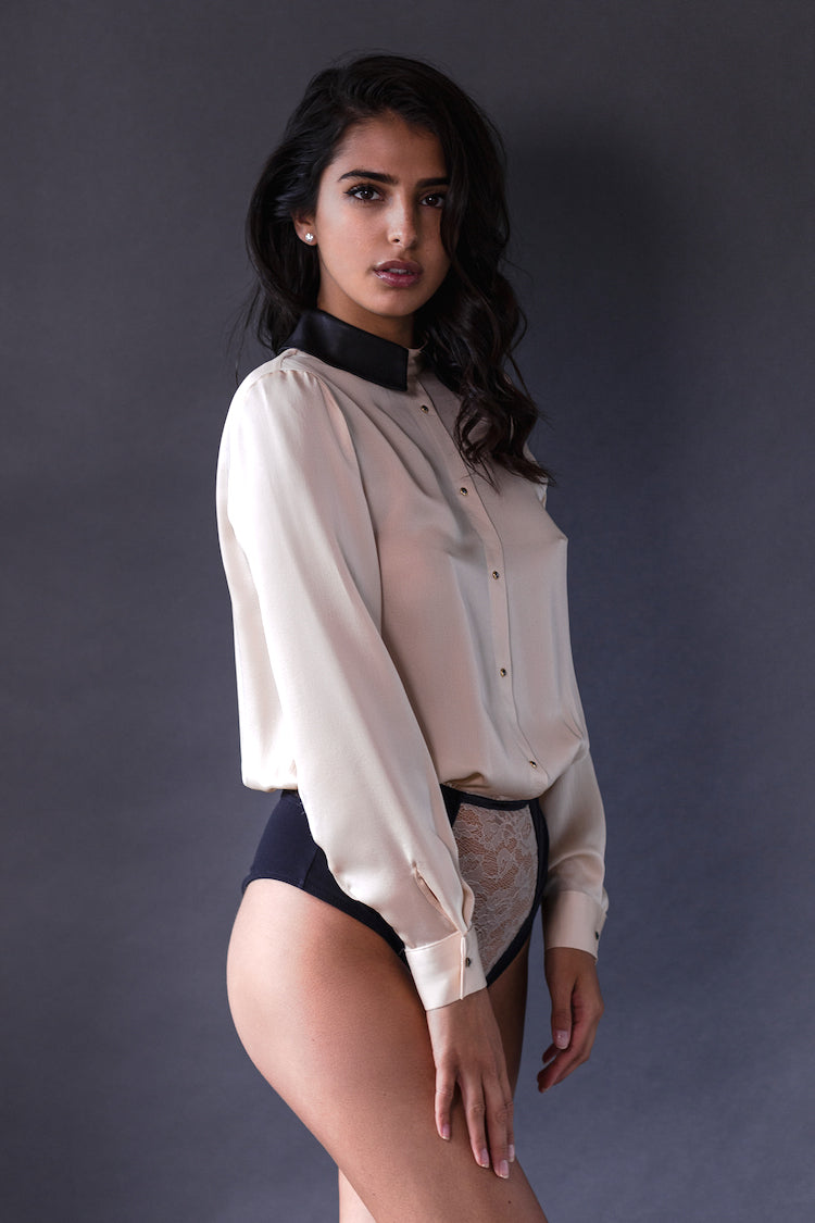 Lula Long Sleeve Bodysuit Blush - Tatu Couture - Anya Lust Luxury Lingerie