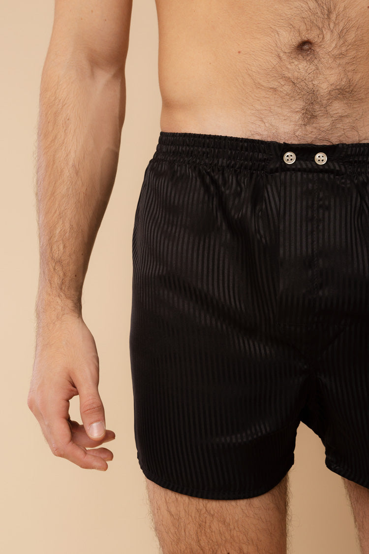 Men's Woburn Classic Silk Boxers Black | Derek Rose | Anya Lust