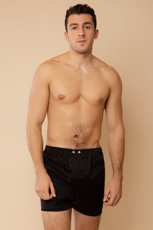 Men's Woburn Classic Silk Boxers Black | Derek Rose London | Anya Lust