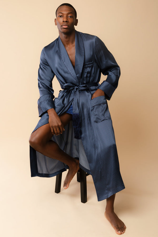Men's Brindisi Navy Silk Robe | Derek Rose | Anya Lust New York