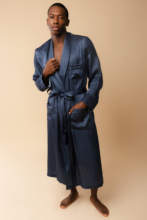 Men's Brindisi Navy Silk Robe | Derek Rose London | Anya Lust