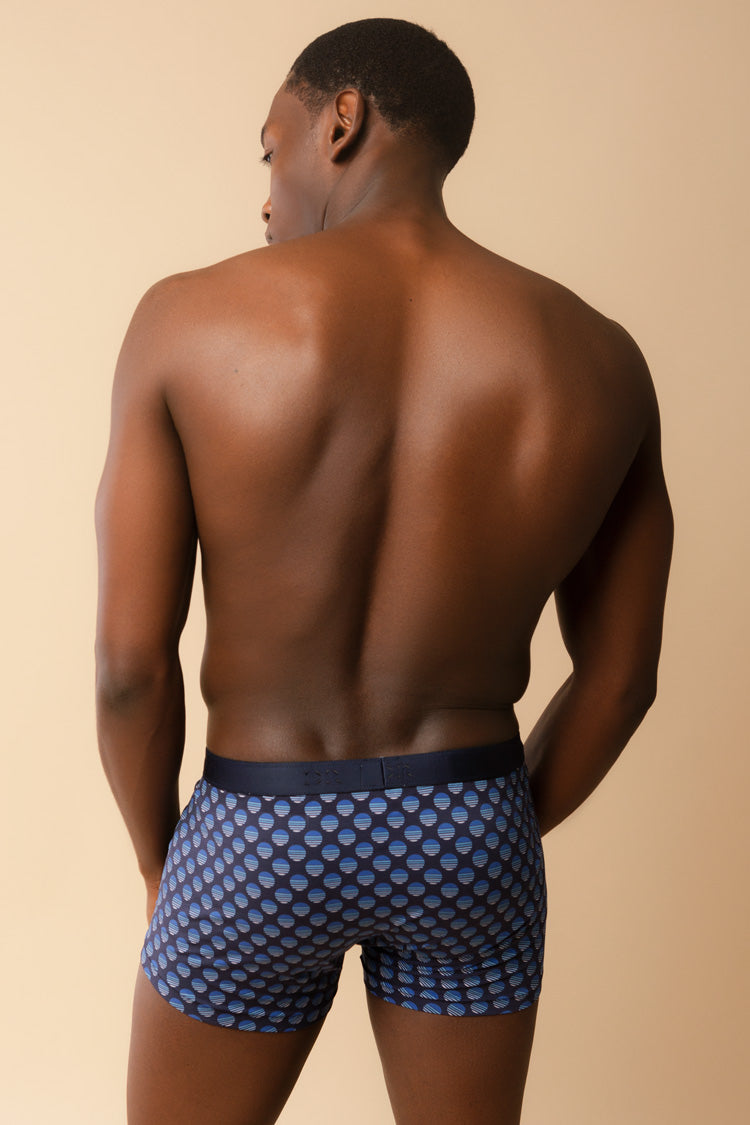 Men's Navy Spotted Boxer Briefs