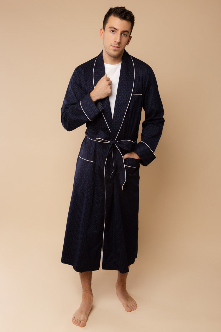 Men's Royal Piped Robe Navy | Derek Rose | Anya Lust Menswear