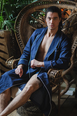 75cc008ca65 Men's Royal Piped Robe Navy - Derek Rose - Anya Lust