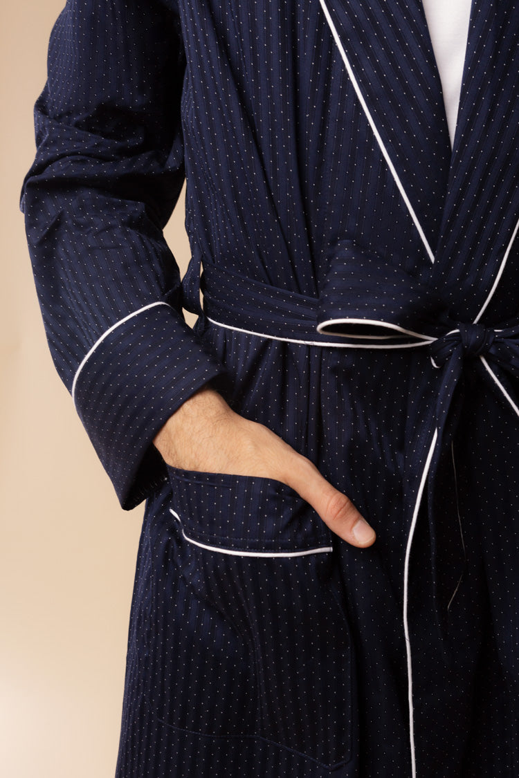 Men's Royal Piped Robe Navy | Derek Rose | Anya Lust