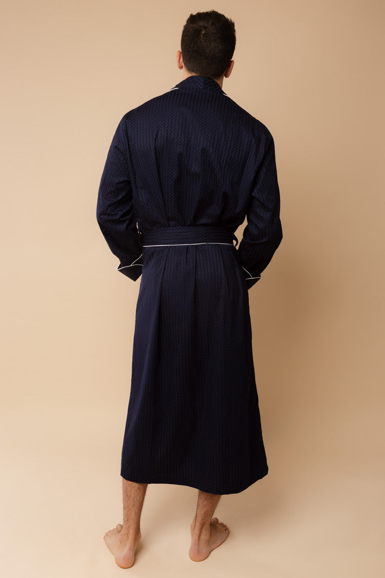 Men's Royal Piped Robe Navy | Derek Rose London | Anya Lust Menswear
