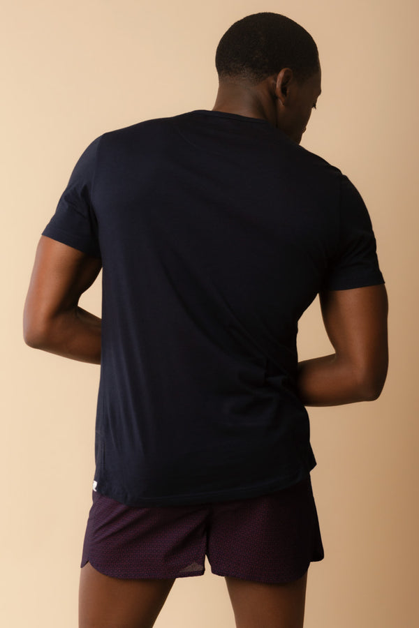Men's Short Sleeve Cotton T-Shirt Navy | Derek Rose London | Anya Lust