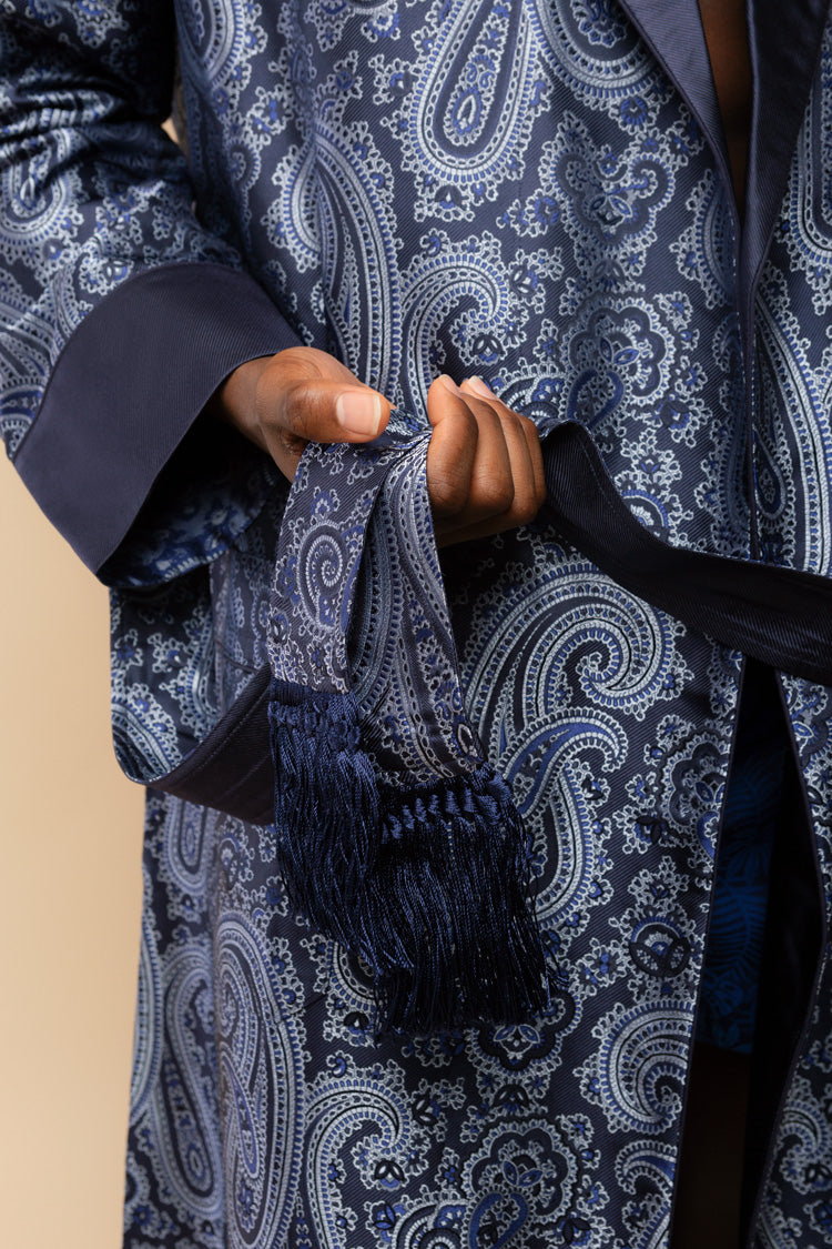 Men's Verona Silk Jacquard Robe | Derek Rose London | Anya Lust
